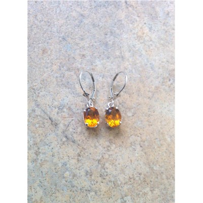 Genuine Citrine oval dangling earrings in Sterling Silver