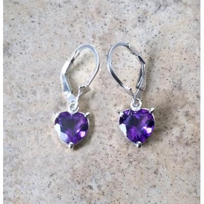 Amethyst hearts -3cts - dangling earrings in Sterling Silver - genuine Amethyst - February birthstone