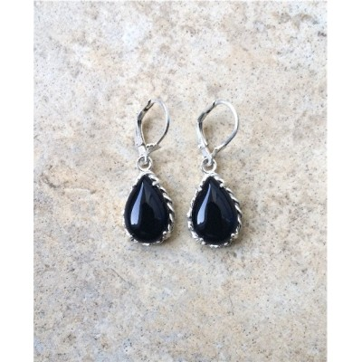 Black Onyx drop earrings in Sterling Silver or Gold rope settings