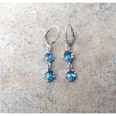 London Blue Topaz double drop dangle earrings in Sterling Silver or Gold
