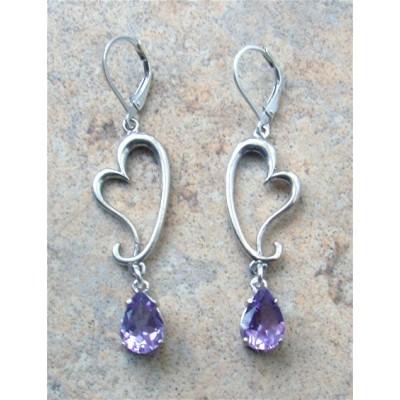 Sterling Silver heart and Amethyst earrings