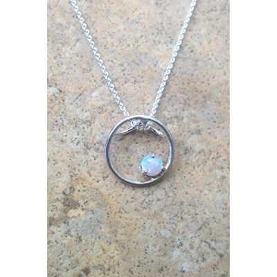 Genuine Opal (October Birthstone) circle necklace