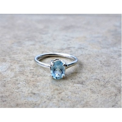 Aquamarine Ring, Genuine Aquamarine Oval shaped 8 mm x 6 mm, March Birthstone, Modern-day stone for Brides