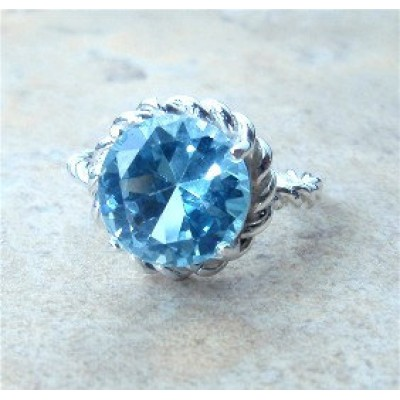 Blue Topaz Rope ring in Sterling Silver