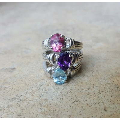 Blue Topaz Ring / Amethyst Ring / Pink Topaz Ring / Oval 8 mm x 6 mm ring in Sterling Silver or Gold