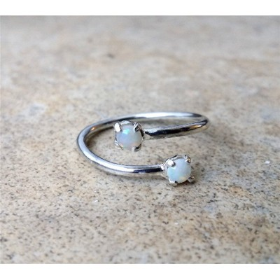 Genuine Opal Ring - 4mm - (October Birthstone)- in Sterling Silver or Gold