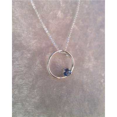 Genuine Sapphire (September Birthstone) circle necklace