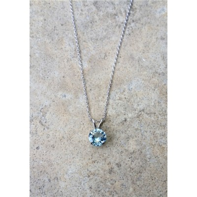 Aquamarine Pendant Necklace 14K White Gold with chain - Geniuine Aquamarine 8mm round pendant - March Birthstone - 1.75 carats