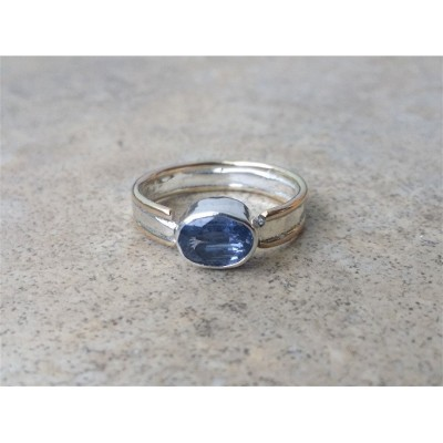 Sapphire Ring / Genuine Blue Sapphire 2 tone Ring / 65 Anniversary / Sterling Silver and Gold