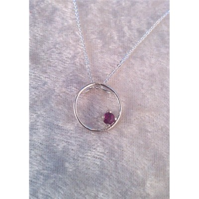 Genuine Ruby (July Birthstone) circle necklace