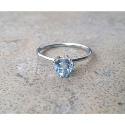 Aquamarine Ring, Genuine Aquamarine Heart Ring, March Birthstone, Modern-day stone for Brides