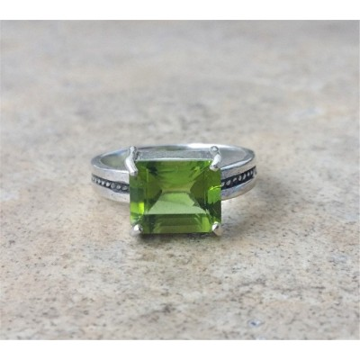 Genuine Peridot Ring in Sterling Silver or Gold - 4.5 carats natural Peridot
