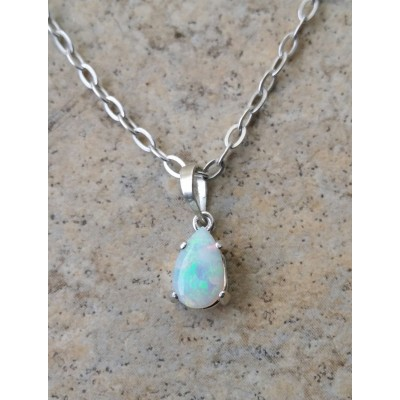 Genuine Opal (October Birthstone) drop necklace in Sterling Silver or Gold