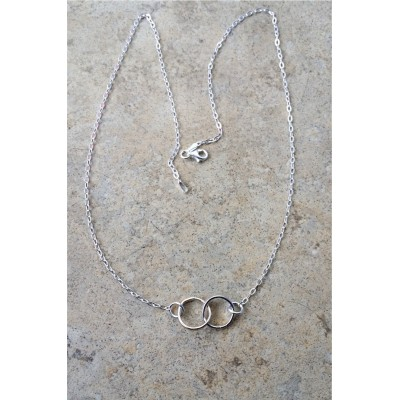 Interlocked-Circle Necklace/2Hoops/2Rings/ in Sterling Silver and Gold Filled and Sterling Silver Chain