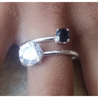 Cubic Zirconia and Onyx open band ring