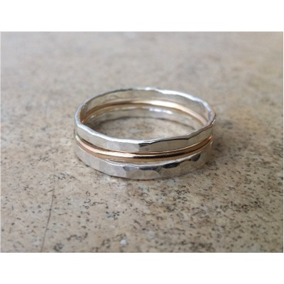 Stack Rings / Silver & Gold stack ring / Stack bands / 2 tone ring