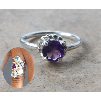 Genuine Amethyst Stack ring in Sterling Silver or Gold