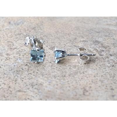 4mm genuine Aquamarine square stud earrings in Sterling Silver
