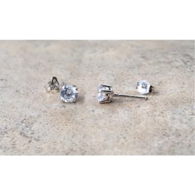 AAA Cubic Zirconia stud earrings -5mm - in Sterling Silver or Gold
