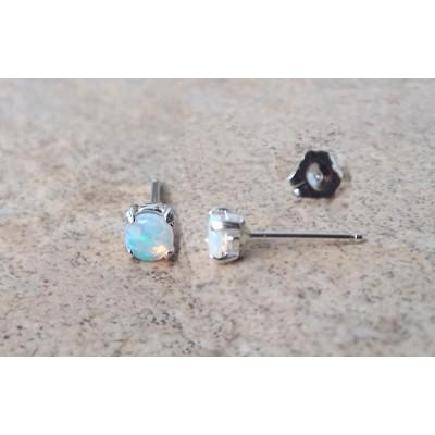 Genuine Opal  4mm (October Birthstone) stud earrings in Sterling Silver.