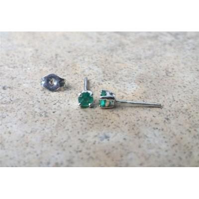 Emerald earrings - 3mm Emerald Stud Earrings (May Birthstone) in Silver or Gold