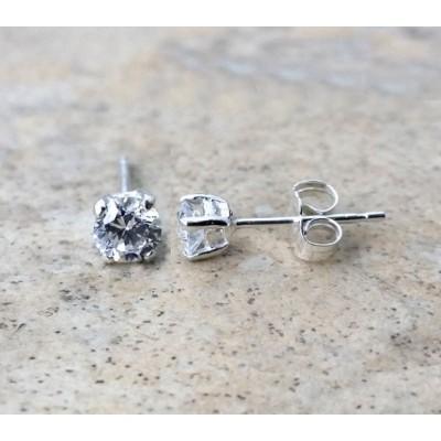 4mm AAA Cubic Zirconia stud earrings in Sterling Silver or Gold