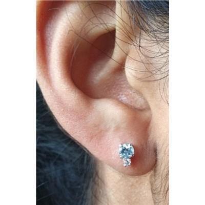 Genuine Aquamarine & Genuine Diamond round stud earrings