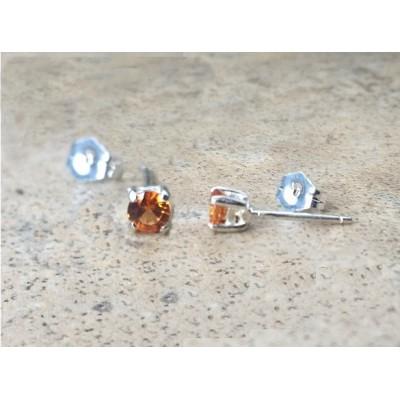 Orange Sapphire 3.7mm stud earrings in Sterling Silver or Gold