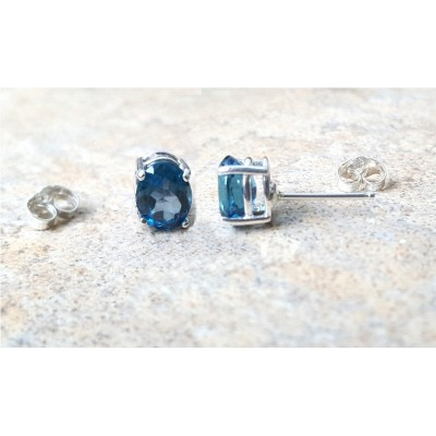 Blue Topaz stud earrings - London Blue Topaz oval stud earrings in silver or gold