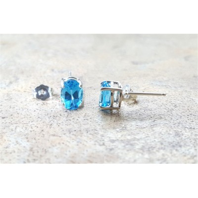 Blue Topaz stud earrings - Swiss Blue Topaz oval stud earrings in silver or gold