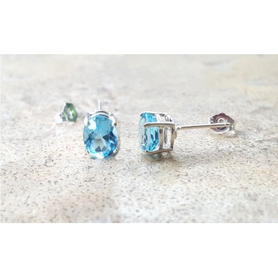 Blue Topaz stud earrings - Sky Blue Topaz oval stud earrings in silver or gold