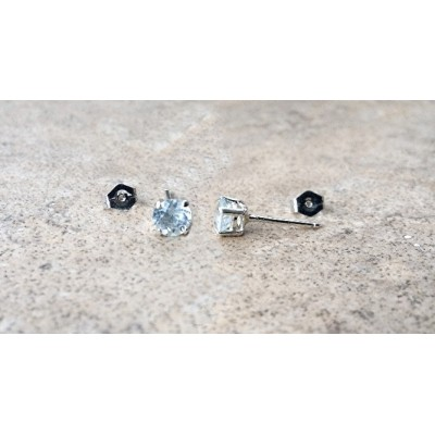5mm genuine Aquamarine stud earrings in Sterling Silver
