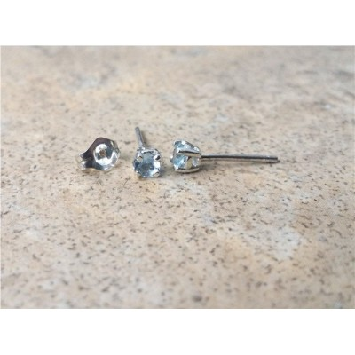Aquamarine earrings 3mm - Aquamarine studs (March Birthstone) in Sterling Silver or Gold