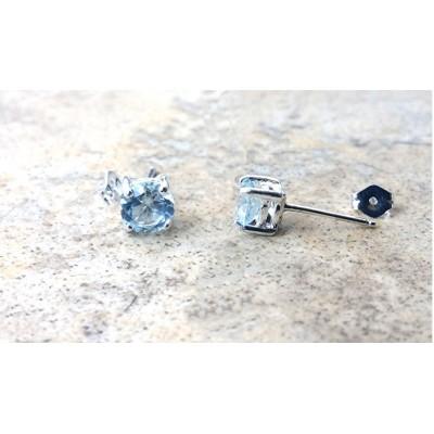 Aquamarine stud earrings in Sterling Silver --Genuine 6 mm Aquamarine-- March Birthday --Real Aquamarine stone for the Modern-Day Bride