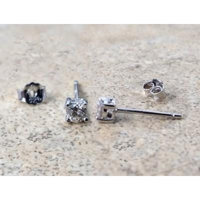 Genuine Diamond 3mm round stud earrings - April Birthstone - Bride - Anniversary - in Sterling Silver
