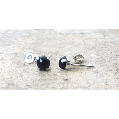 Black Onyx stud earrings - Genuine Black Onyx 5mm cabochon earrings in Sterling Silver