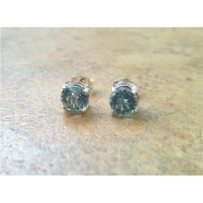 Sky Blue Topaz - Genuine stones - 6mm stud earrings in Sterling Silver