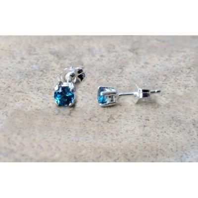 4mm genuine London Blue Topaz stud earrings in Sterling Silver or Gold
