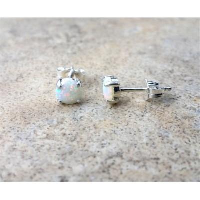 Genuine Opal 5mm(October Birthstone) stud earrings in Sterling Silver.