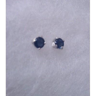 4mm genuine Blue Sapphire stud earrings in Sterling Silver