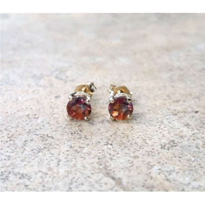 Sunset Mystic Topaz earrings- 5mm round studs in 14K Gold or Silver.