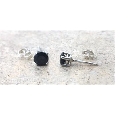 Black Onyx stud earrings - Genuine Black Onyx 5mm faceted stud earrings in Sterling Silver