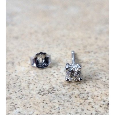 Genuine Diamond 3mm round single stud earring in Sterling Silver - Rhodium plated
