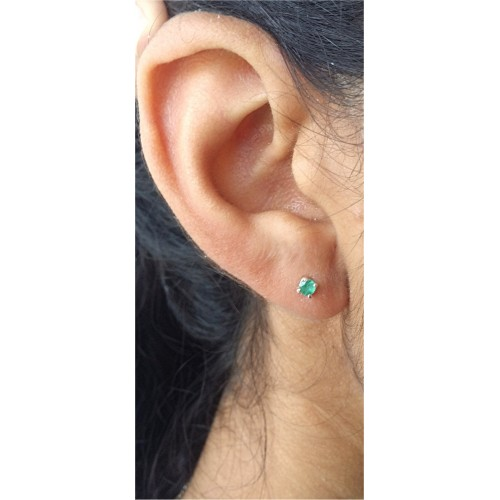 Emerald Earrings 3mm Stud May Birthstone In Silver Or Gold