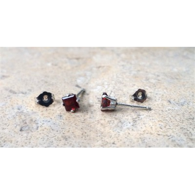 Garnet earrings-Genuine Garnet 4mm Square-cut Sterling Silver stud earrings- January Birthday