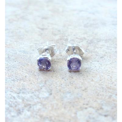 4mm genuine Amethyst stud earrings in Sterling Silver
