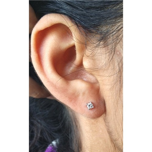 ab86cec2c ... Genuine Diamond 3mm round stud earrings - April Birthstone - Bride -  Anniversary - in Sterling ...
