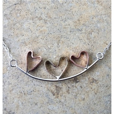 Hearts-On-A-Bar/3 Hearts Copper & Brass attached to a Sterling Silver Bar Necklace/Love/Friendship