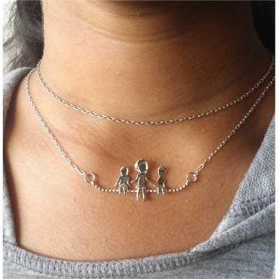 MOM Necklace / Mom and Kids  / Mommy and me / Fun with mom / Family time /  Friends / Necklace in Sterling Silver or Gold