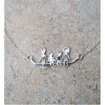 MOM Necklace / Mom and Dad and Kids / My Family / Fun with Family or  Friends / Happiness / Love Necklace Sterling Silver and Gold